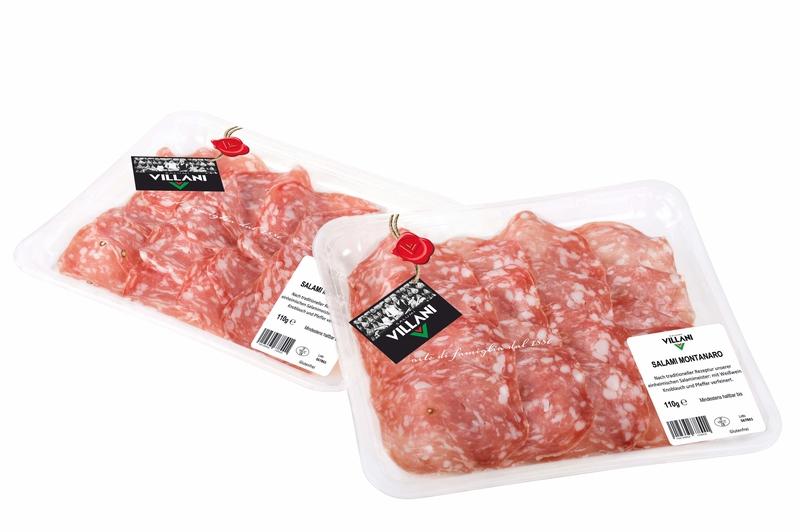 Salame Montanaro affettato 110 g Schale Villani  ( Kühlartikel)